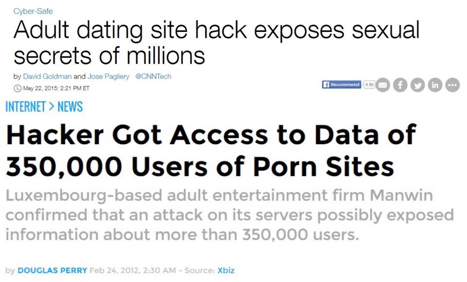 dati rubati dai siti porno